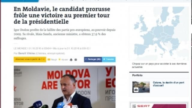 Le Monde | Succesul lui Igor Dodon în alegerile din Republica Moldova sună ca un tunet pe cerul Europei