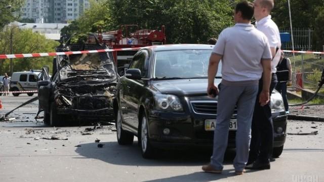 FOTO | O mașină a explodat la Kiev. Un militar ucrainean și-a pierdut viața