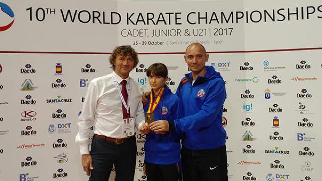 Polina Hurenko a cucerit bronzul la Mondialele de karate printre tineret