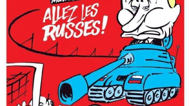 Vladimir Putin, caricaturizat de Charlie Hebdo, cu o zi înaintea deschiderii CM de Fotbal 2018 din Rusia