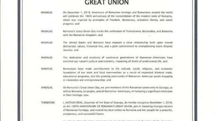 Proclamaţie de felicitare a României cu ocazia Centenarului Marii Uniri, emisă de guvernatorul statului american Georgia