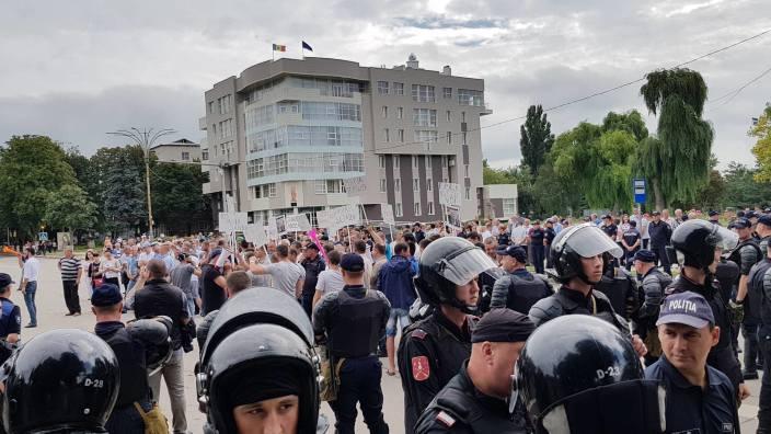 Protest al Mișcării de rezistență națională ACUM la Ungheni. Orașul este împânzit de poliție (FOTO/VIDEO)