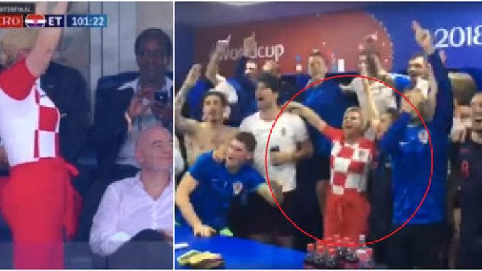 VIDEO | PETRECERE de pomină cu preşedintele Croaţiei, la Campionatului Mondial. A cântat în vestiar şi l-a enervat pe premierul rus