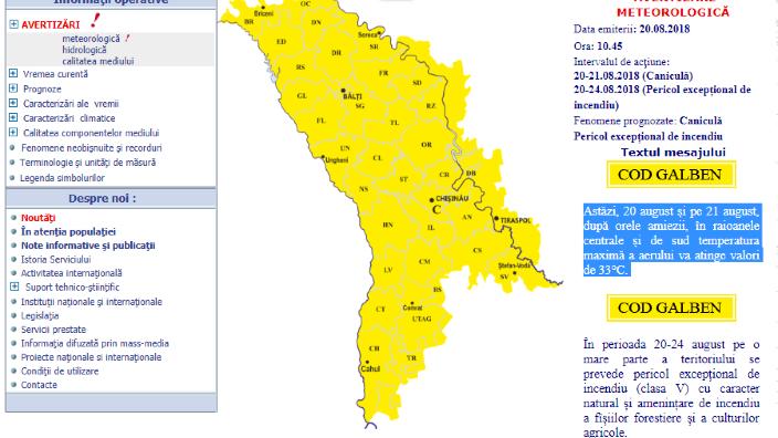 Cod galben de caniculă și pericol excepțional de incendiu pe teritoriul R.Moldova