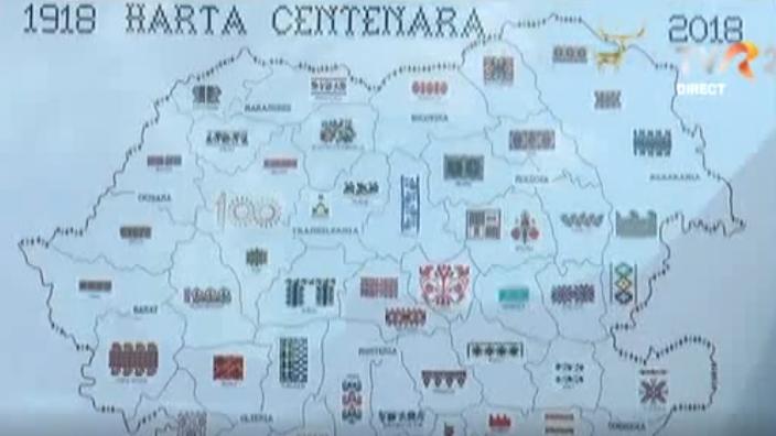 O hartă brodată, dedicată Centenarului Marii Uniri, este expusă în centrul Braşovului