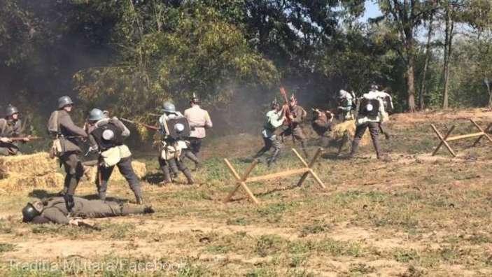 Scene de luptă din Primul Război Mondial, în tranşee originale au fost reconstituite în premieră în România