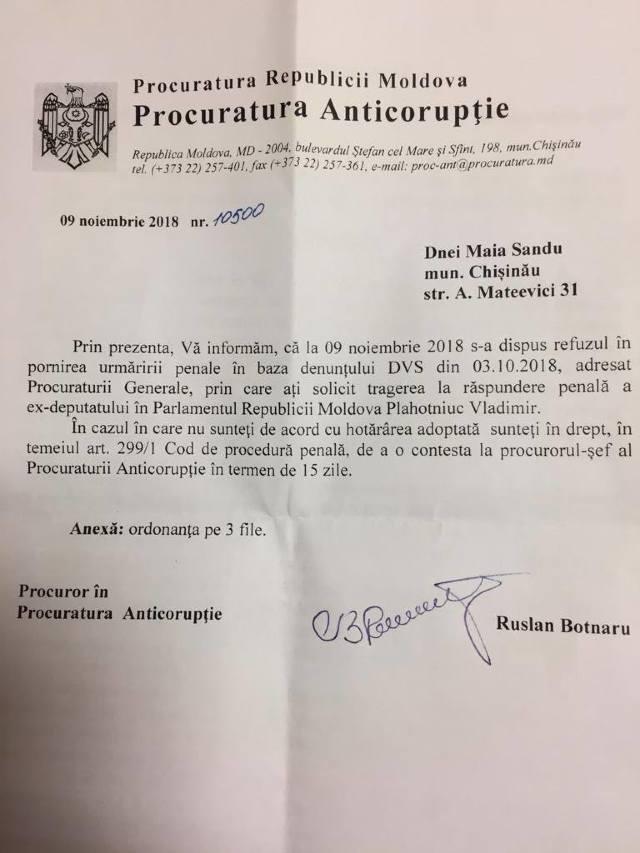 DOC | Răspunsul Procuraturii la sesizarea de a investiga averile lui Vlad Plahotniuc din străinătate