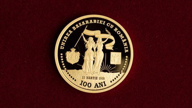AUR pentru Centenar | În cinstea Unirii, Banca Centrală de la Chișinău a emis o monedă comemorativă în 2018