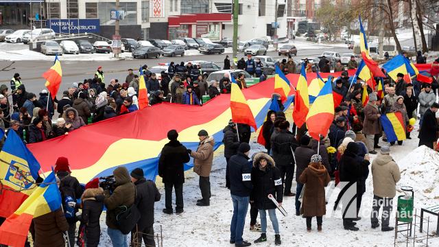 FOTO | Marș dedicat Centenarului Marii Uniri, desfășurat de unioniști la Chișinău