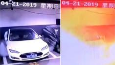 VIDEO | Momentul în care o presupusă maşină Tesla explodează într-o parcare subterană. Reacţia companiei