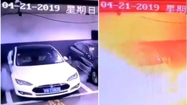 VIDEO | Momentul în care o presupusă mașină Tesla explodează într-o parcare subterană. Reacția companiei