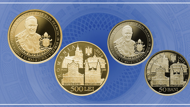 Banca Națională a României lansează 3 monede din aur și alamă, având ca temă vizita Papei Francisc în România