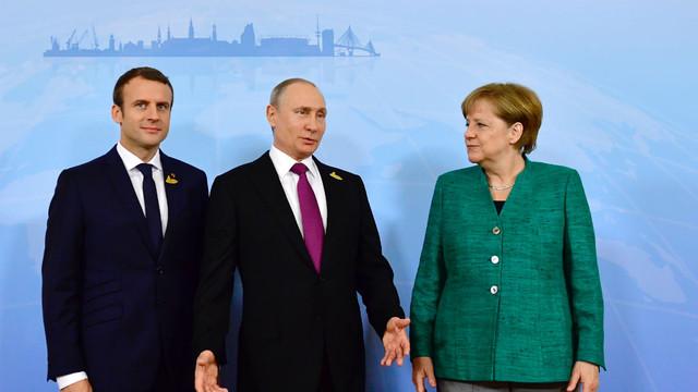 Situația din Donbas - tema unei convorbiri telefonice între Merkel, Macron şi Putin
