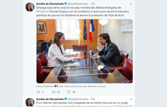 Nicolae Popescu s-a întâlnit la Paris cu Amélie de Montchalin, secretar de stat pentru afaceri europene din cadrul ministerului francez de externe
