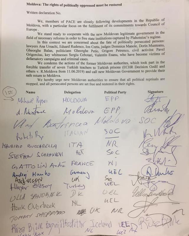 DOC | O declarație pentru eliberarea deținuților politici din R.Moldova, semnată de mai mulți membri ai APCE