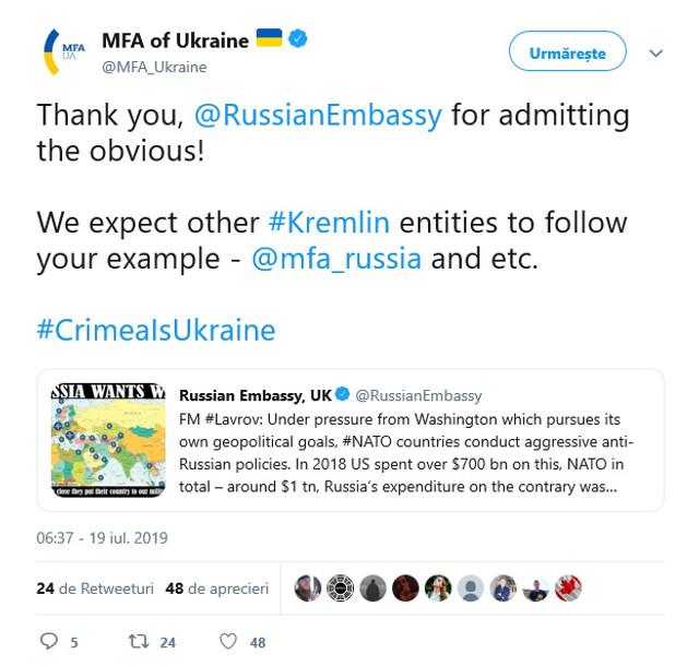 Din neatenție, Ambasada Rusiei de la Londra a recunoscut Crimeea ca teritoriu al Ucrainei