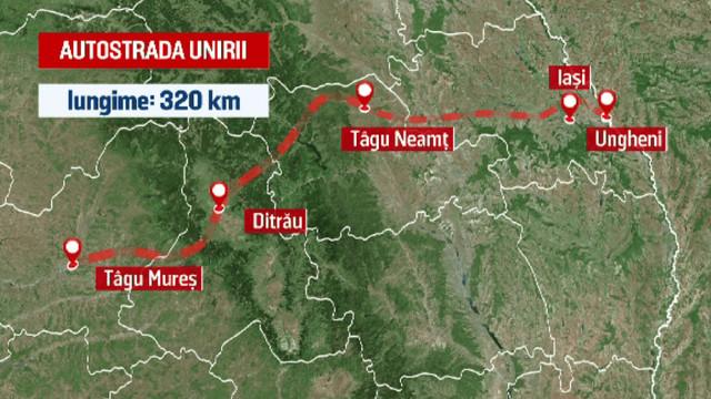 Autostrada Marii Uniri, de la Târgu Mureş până la Ungheni, va fi declarată obiectiv de importantă națională