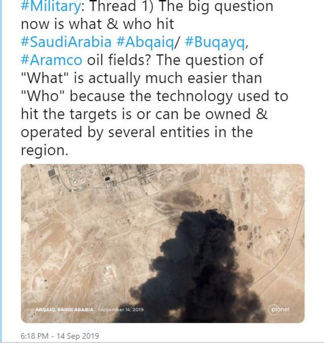 Americanii au făcut publice imagini de satelit care ar dovedi că Iranul a bombardat câmpurile petroliere din Arabia Saudită