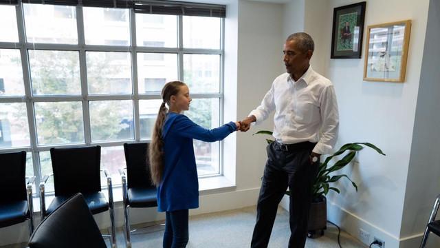 Tânăra militantă pentru apărarea mediului Greta Thunberg a fost primită de Barack Obama