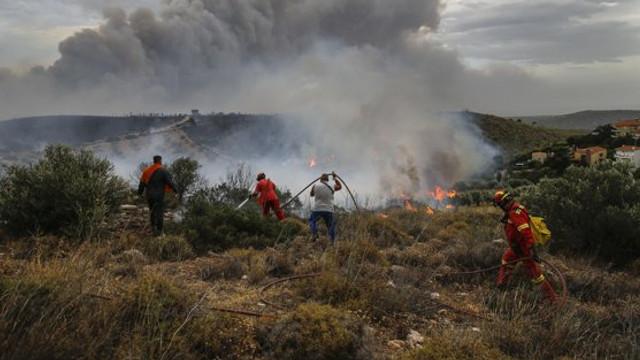 Locuitorii unui oraş din Grecia, evacuaţi din cauza unui incendiu de vegetaţie. Pompierii nu reuşesc să stingă flăcările din cauza vânturilor puternice