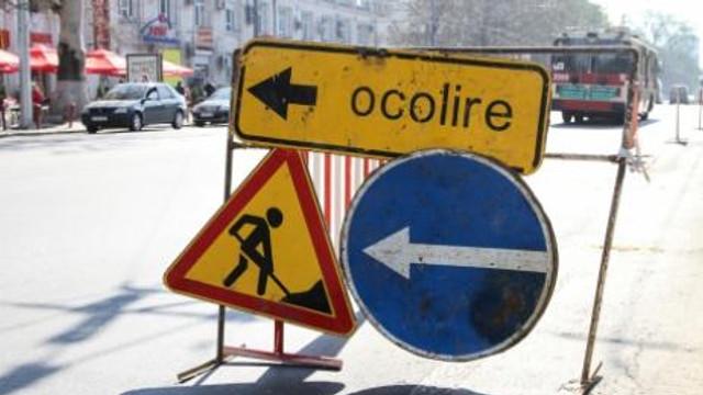Trafic rutier suspendat pe o stradă din sectorul Buiucani