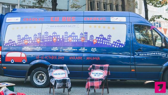 ''EUROBUS''- călătorie cu autobuzul care promovează asocierea cu UE prin orașele R.Moldova și Ucrainei