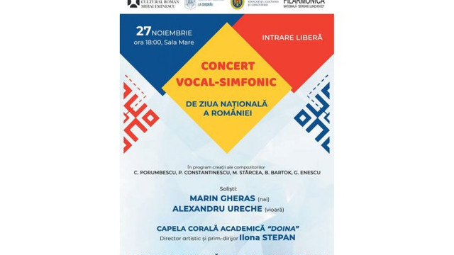La Filarmonica Națională va avea loc un concert vocal-simfonic dedicat Zilei Naționale a României. Intrarea este gratuită