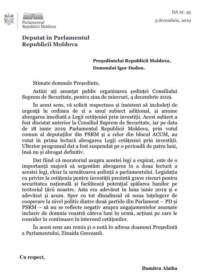 DOC | Dumitru Alaiba îi solicită lui Igor Dodon să introducă pe ordinea de zi al ședinței CSS abrogarea Legii cetățeniei prin investiție