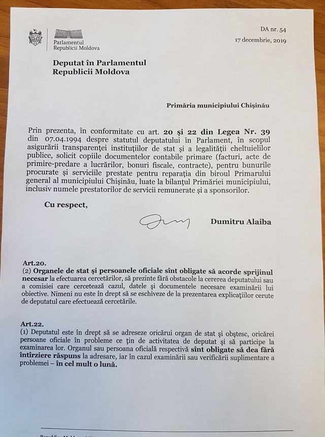 """DOC   Un deputat cere facturi și bonuri fiscale ce țin de costurile reparației biroului lui Ion Ceban. """"Orice răspuns va fi transmis direct către Procuratură"""""""