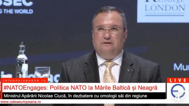 Ministerul Apărării al României, la evenimentul NATO: Ce se întâmplă acum în Marea Neagră este că avem trei parteneri, Georgia, Ucraina și R.Moldova și trei țări aliate rivane, Bulgaria, România și Turcia