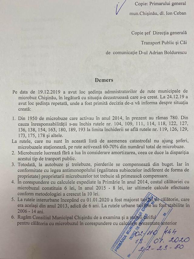 Companiile care administrează transportul public cu microbuzul în Chișinău cer majorarea tarifului până la 10 lei (DOC)