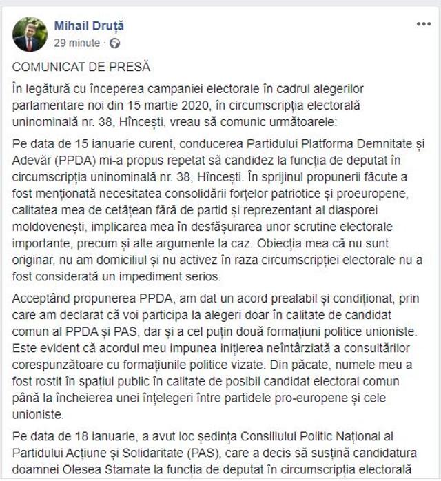 Mihai Druță nu va candida din partea Platformei DA la Hâncești
