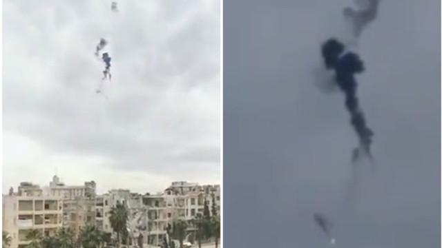 VIDEO. Elicopter militar, doborât în Siria în urma unui atac atribuit armatei turce. Cei doi piloți au murit