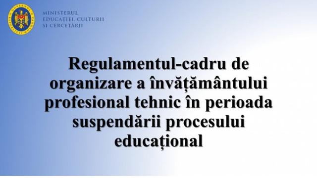 A fost aprobat Regulamentul de organizare a învățământului profesional tehnic în perioada suspendării procesului educațional