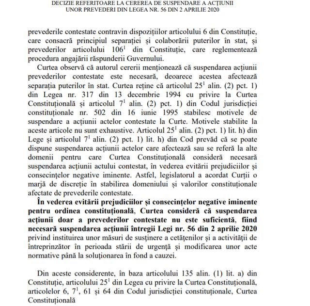 DOC | Ce prevede decizia Curții Constituționale privind suspendarea legii asumate prin răspundere de către Guvern
