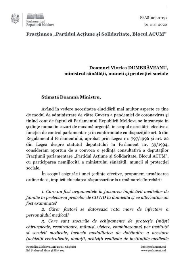 DOC | Deputații PAS o invită pe ministra Sănătății, Viorica Dumbrăveanu, în Parlament