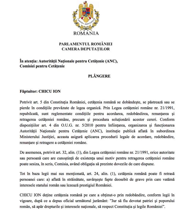 DOC | Plângerea adresată ANC privind retragerea cetățeniei române lui Ion Chicu, depusă de un deputat de la București