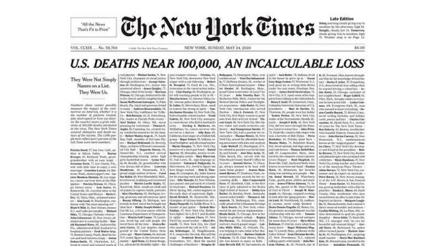 SUA: New York Times și-a umplut prima pagină cu nume de persoane decedate din cauza COVID-19