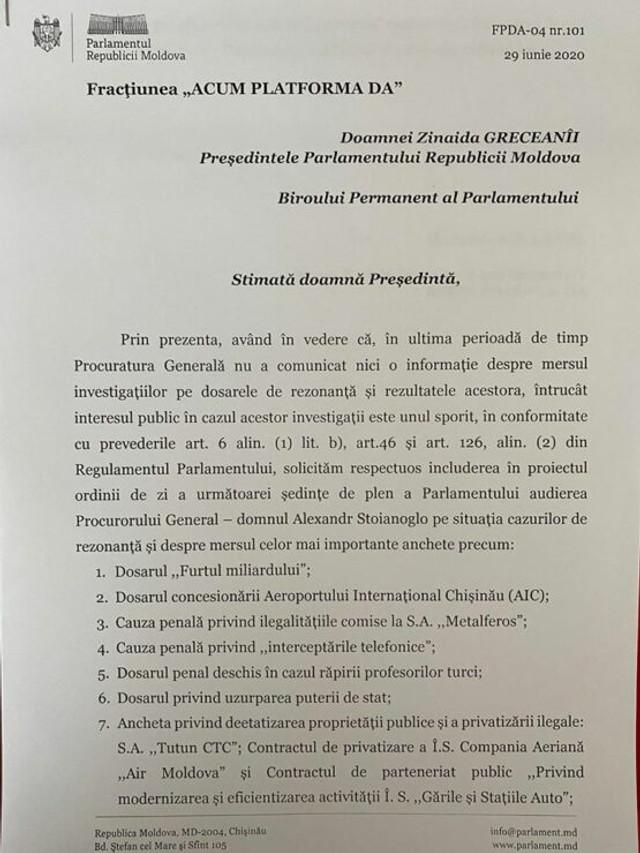 DOC | Fracțiunea Platforma DA a solicitat audierea Procurorului General în plenul Parlamentului