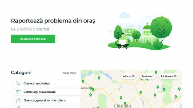 """Problemele urgente din oraș pot fi sesizate pe """"eu.chisinau.md"""