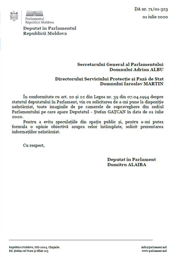 DOC | Un deputat PAS solicită de urgență imagini video din Parlament în legătură cu ultimele declarații referitor la Ștefan Gațcan