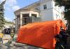 FOTO | Continuă lucrările în vederea lichidării consecințelor incendiului de la Filarmonica Națională. Experții vor putea evalua mâine starea edificiului