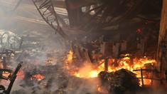 VIDEO/FOTO | La Filarmonica Națională lucrează de dimineață 8 autospeciale și 56 de pompieri. A fost nevoie de implicarea unei macarale