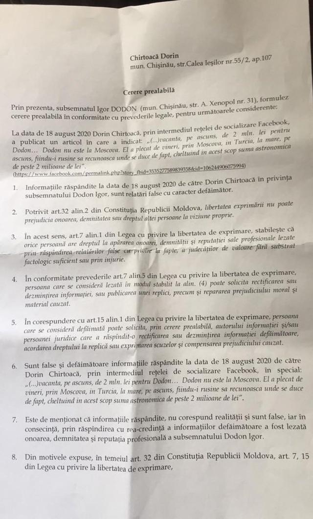 DOC | Dorin Chirtoacă a anunțat că va fi acționat în judecată de Igor Dodon