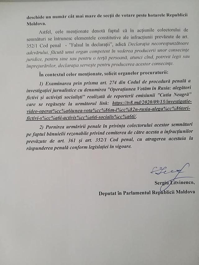 DOC   Sesizare la PG în legătură cu informațiile apărute în spațiul public privind ilegalitățile în procesul înregistrării  prealabile pentru prezidențiale