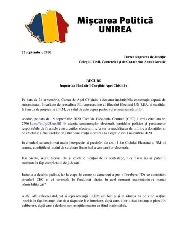 DOC   Decizia Curții de Apel privind circulara CEC prin care este interzisă finanțarea candidaților la prezidențiale de către partide, atacată la Curtea Supremă de Justiție