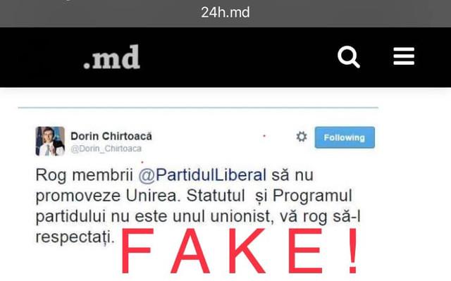 Dorin Chirtoacă demontează un fake news despre faptul că ar fi cerut PL să nu promoveze Unirea