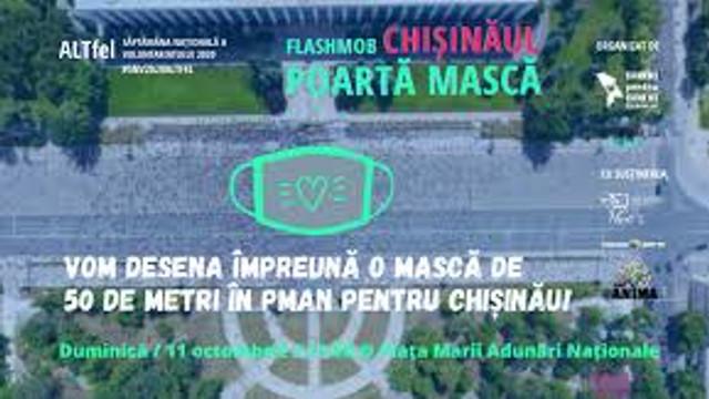 Flashmob la Chișinău. O mască gigant a fost desenată în PMAN