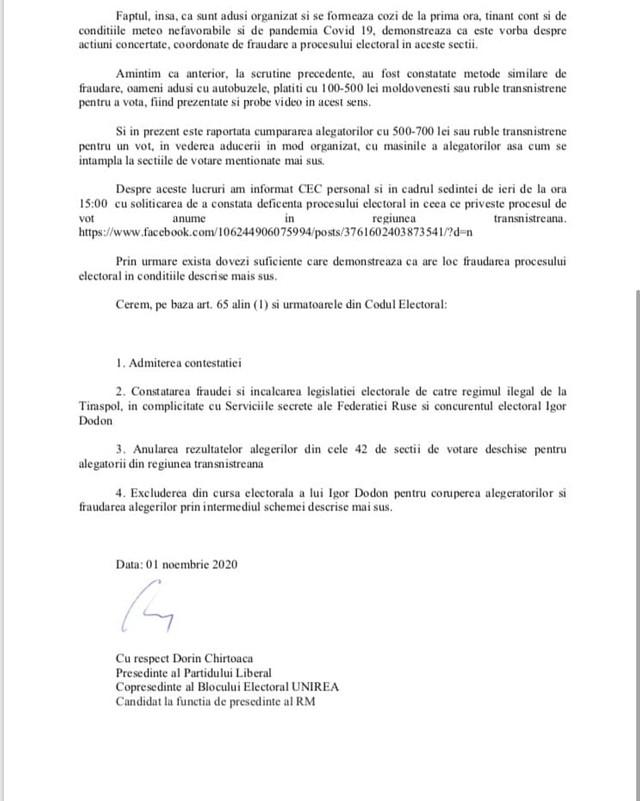 DOC | Dorin Chirtoacă a depus o contestație la CEC și cere excluderea lui Igor Dodon din cursa electorală