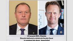 Perspectivele dezvoltării relației moldo-daneze abordate în cadrul discuției telefonice a miniștrilor de externe Aureliu Ciocoi și Jeppe Kofod